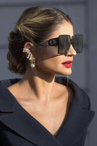 Dior Montaigne30 Oversized Square Sunglasses in Full Black