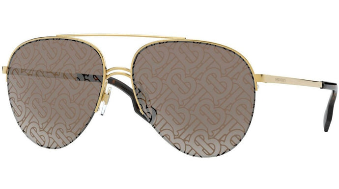 Burberry BE3113 Gold Logo Lens Aviator Sunglasses