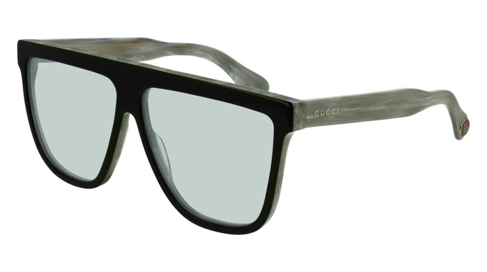 Gucci 0582S Square Flat Top Sunglasses in Green Tint