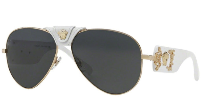 Versace 2150Q White Leather Aviator Sunglasses