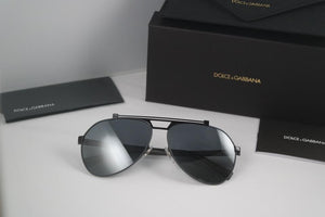 Dolce Gabbana 2189 Gunmetal Mirrored Aviator Sunglasses