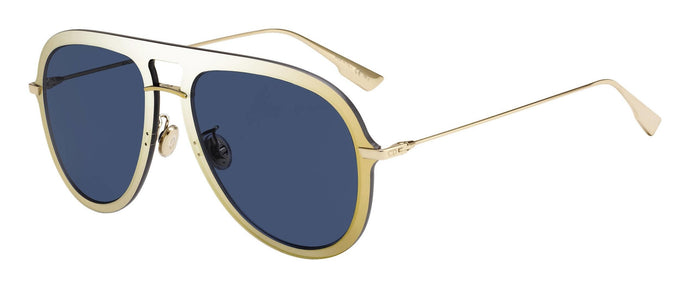 Dior Ultime 1 Aviator Mirrored Sunglasses in Gold/Blue Lens