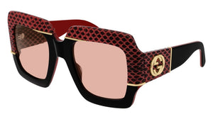 Gucci 0484S Snakeskin Oversized Sunglasses in Red