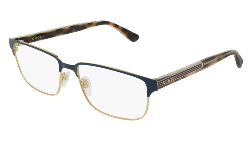 Gucci 0383O Metal Oversized Mens Eyeglasses Frames in Blue