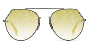 Fendi 0194 Eyeline Mirrored Logo Aviator Sunglasses in Yellow