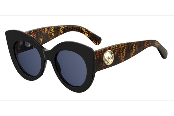 Fendi 0306/S Black Logo Print Oversized Cat Eye Sunglasses