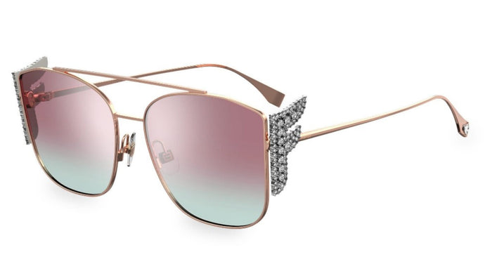 Fendi 0380/G/S Freedom Mirrored Crystal Logo Sunglasses in Pink