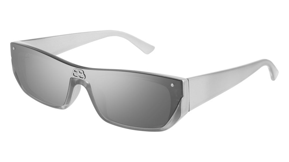 Balenciaga BB0080S 002 Shield Sunglasses in Silver