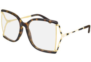 Gucci GG0592O Havana Brown Gold Oversized Square Cutout Eyeglasses Frames