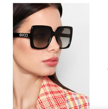 Load image into Gallery viewer, Gucci 0418S Black Square Crystal Logo Sunglasses