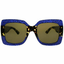 Load image into Gallery viewer, Gucci 0083S Oversized Square Glittered Sunglasses in Blue