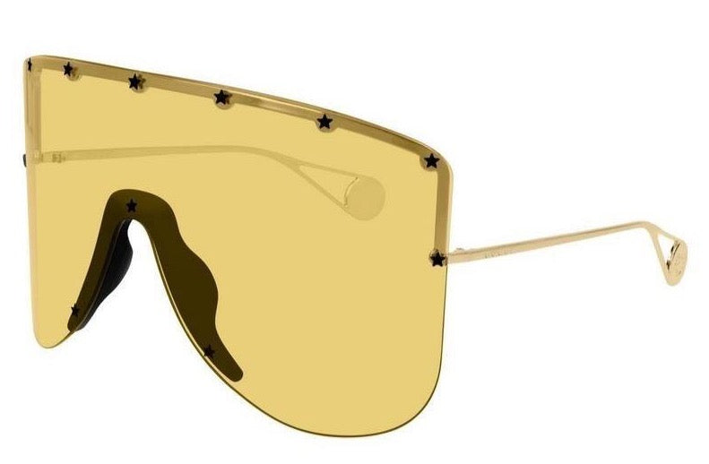Gucci GG0541S Yellow Star Studded Shield Sunglasses