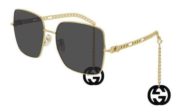 Gucci GG0724S Earring Chain Square Oversized Sunglasses Grey Lens