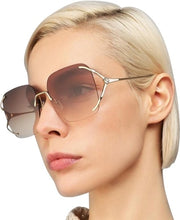 Load image into Gallery viewer, Gucci 0646S Rimless Oversized Sunglasses in Brown Lens