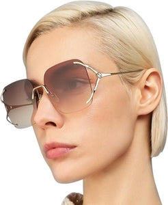 Gucci 0646S Rimless Oversized Sunglasses in Brown Lens