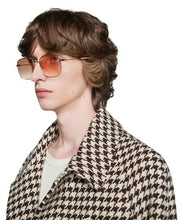 Load image into Gallery viewer, Gucci 0396S Gold Oversized Round Logo Sunglasses in Orange