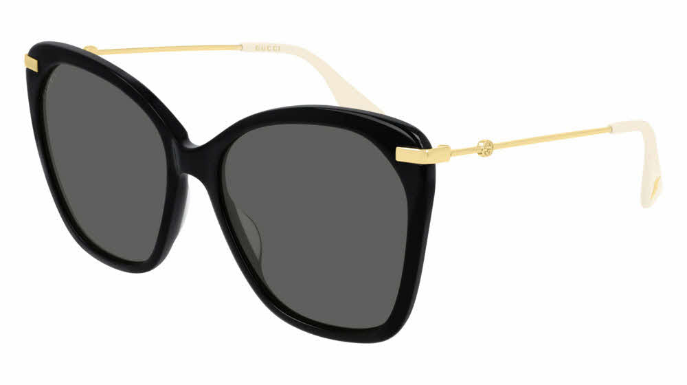 Gucci 0510S Butterfly Metal Leg Oversized Black Sunglasses