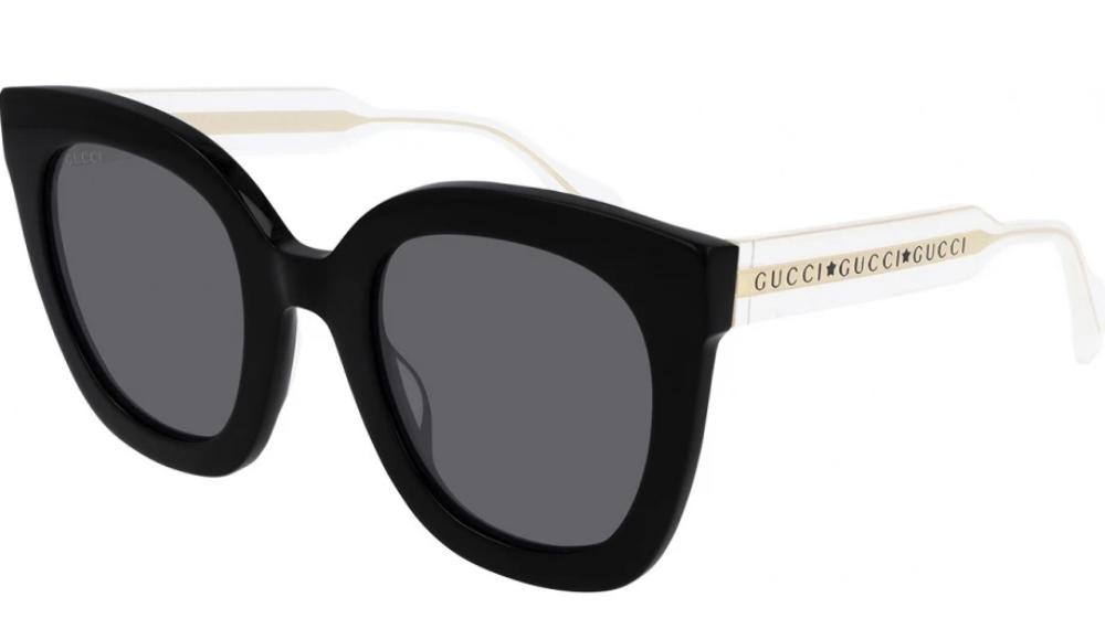 Gucci 0564S Oversized Rounded Cat Eye Clear Leg Sunglasses