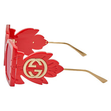 Load image into Gallery viewer, Gucci 0535S Red Feather Oversized Sunglasses