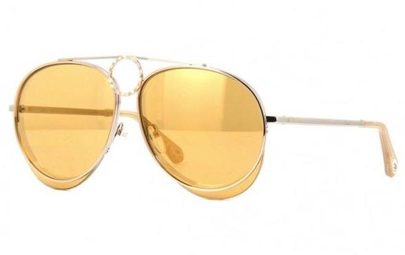 Chloe CE144S Romie Aviator Sunglasses in Yellow Gold Mirrored
