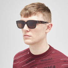 Load image into Gallery viewer, Balenciaga BB0049S Rectangle Logo Sunglasses in Brown