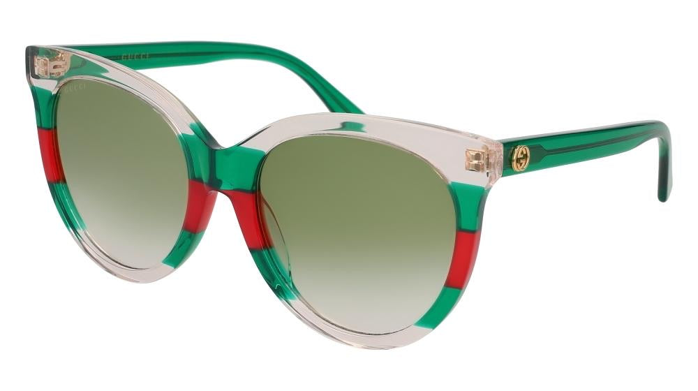 Gucci 0179SA Oversized Cat Eye Sunglasses in Clear Green/Red