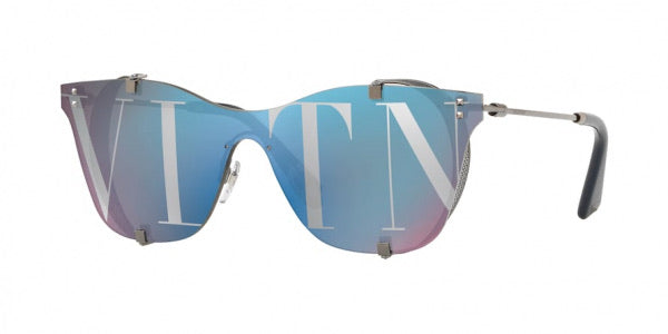 Valentino 2016 Blue Logo Mirrored Sunglasses