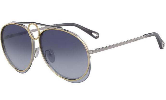 Chloe CE144S Romie Aviator Sunglasses in Blue Silver Mirrored