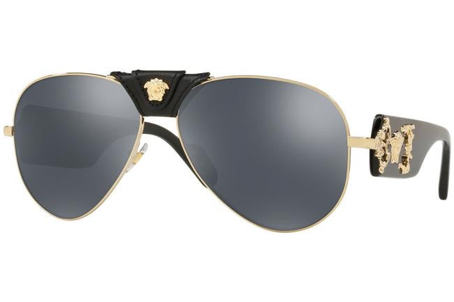 Versace 2150Q Black Leather Aviator Sunglasses