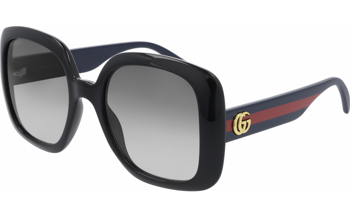 Gucci GG0713S Oversized Black Square Logo Leg Sunglasses
