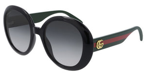 Gucci 0712S Oversized Black Round Logo Leg Sunglasses