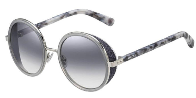 Jimmy Choo Andie Round Crystal Shield Sunglasses in Grey