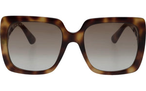Gucci 0418S Brown Square Crystal Logo Sunglasses