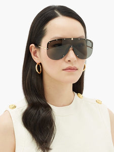 PREORDER || Gucci 0667S Black Studded Shield Sunglasses