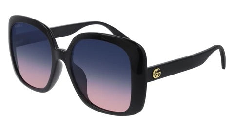 Gucci GG0714SA Oversized Black Square Gradient Lens Sunglasses