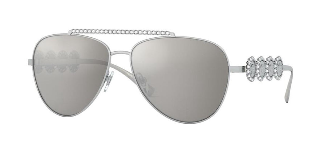 Versace 2219B Crystal Aviator Sunglasses in Silver