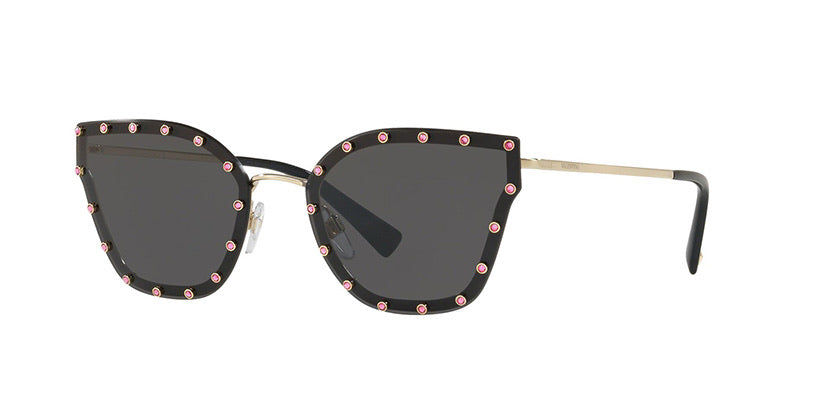 Valentino 2028 Black Pink Crystal Studded Cat Eye Sunglasses