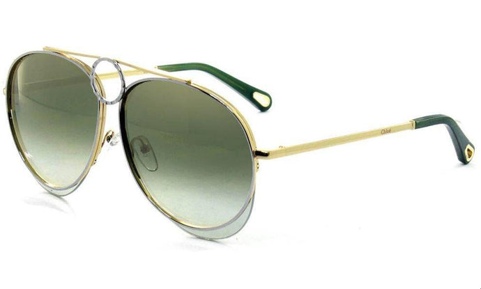 Chloe CE144S Romie Aviator Sunglasses in Green Mirrored