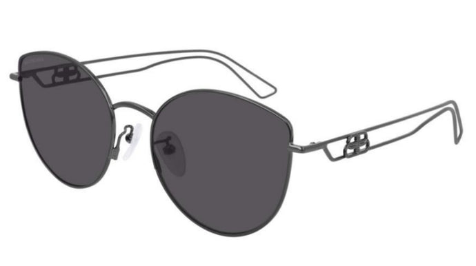 Balenciaga BB0059SK 001 Metal Cat Eye Sunglasses in Gunmetal