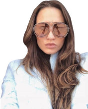 Load image into Gallery viewer, Chloe CE144S Romie Aviator Sunglasses in Dark Nickel Copper Mirrored