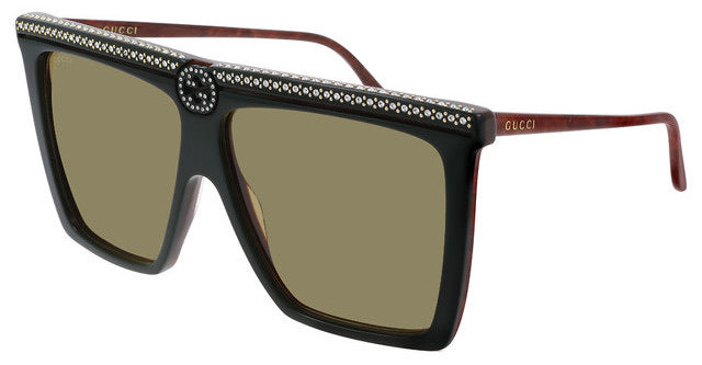 Gucci GG0733S Dark Green Crystal Square Logo Flat Top Sunglasses