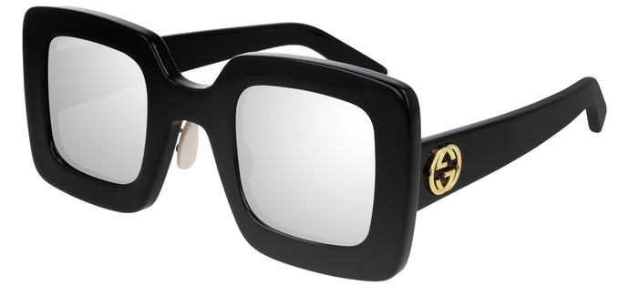 Gucci GG0780S Square Thick Rim Sunglasses in Black Mirrored