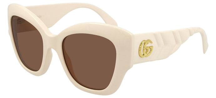 Gucci GG0808S Thick Rim Cat Eye Sunglasses in Ivory
