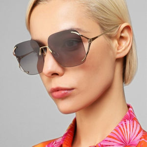 Gucci GG0646S Rimless Oversized Sunglasses in Grey Lens