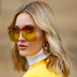 Fendi 0399/S Kalligraphy Square Oversized Sunglasses in Multicolor Yellow