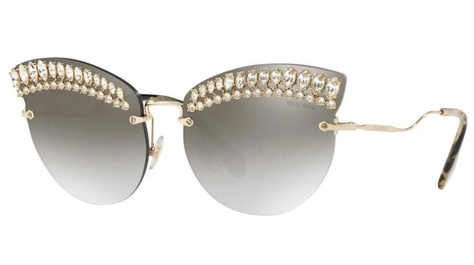 Miu Miu 58TS Scenique Oversized Crystal Cat Eye Sunglasses
