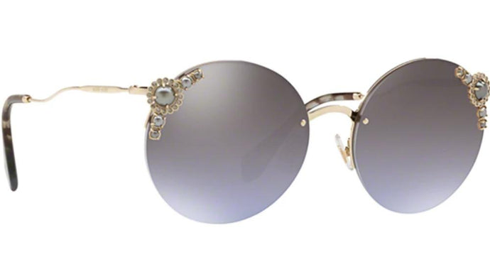 Miu Miu 52T Pearl Round Mirrored Sunglasses