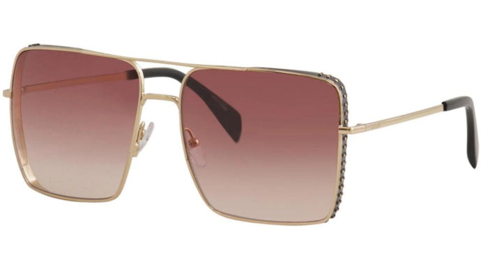 Moschino 020/S Flat Top Aviator Sunglasses in Rose Gold