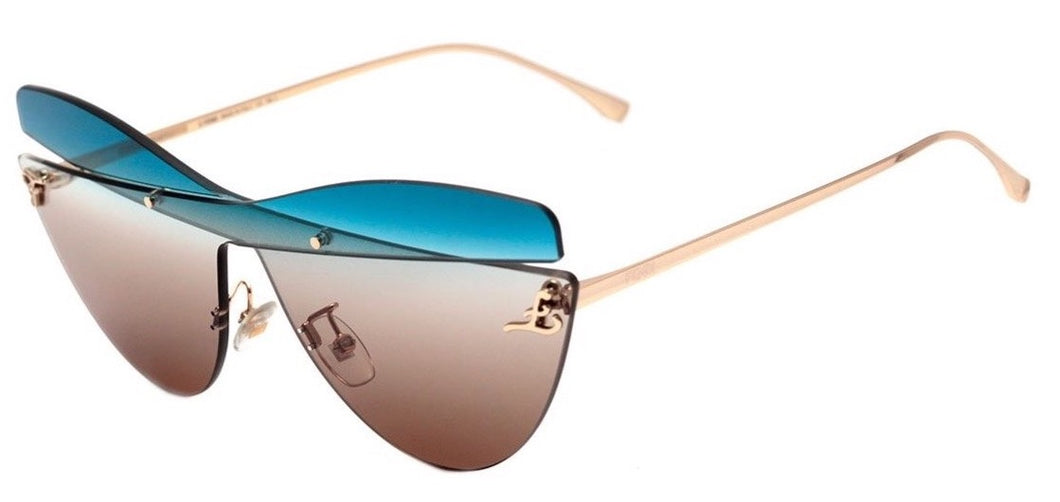 Fendi 0400/S Karligraphy Cat Eye Sunglasses in Multicolor Brown Blue