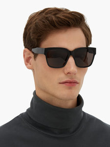 Balenciaga BB0056SA 001 Logo Plaque Square Sunglasses in Black